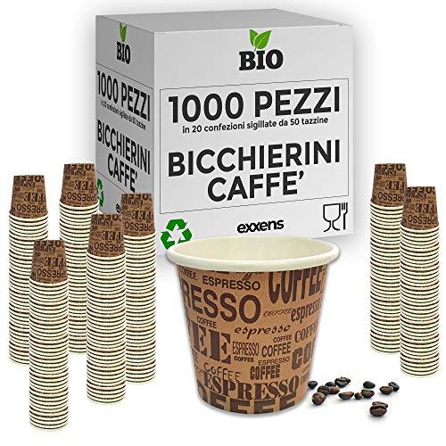 exxens 1000Pz Bicchierini Tazzine caffè 75ml Biodegradabili di Carta Ecologici Bio Compostabili USA E Getta