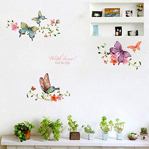 JQFEN Wandaufkleber Wohnzimmer Schaukasten Tür Hauptdekoration Wandkunst Aufkleber Hintergrund Schmetterling Aufkleber