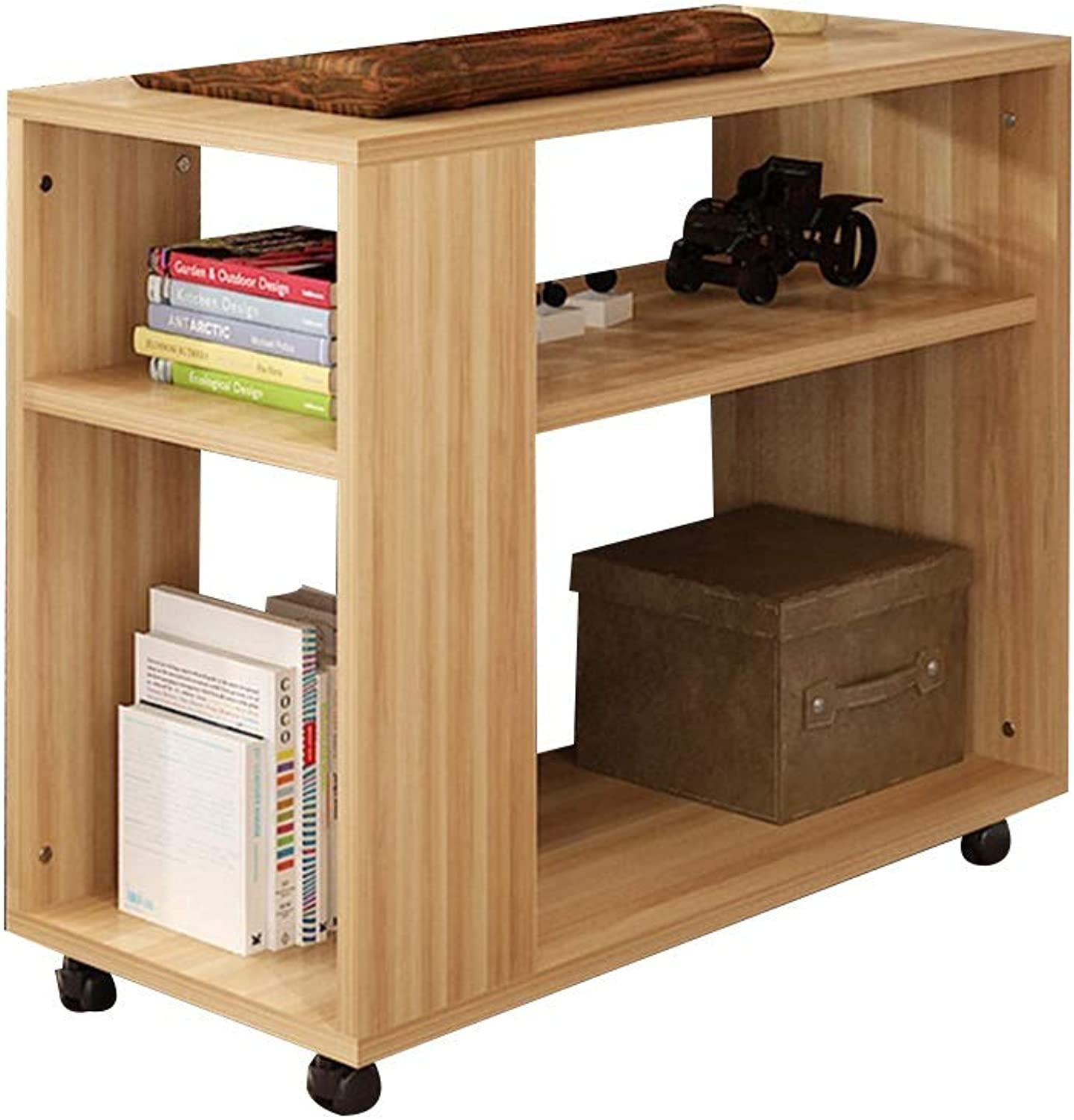 Coffee Table Lockers, Mobile with Casters Sofa Side Table 3-Layer Open Storage Bedside Cabinet Multifunction Shelf Snack Table Small Apartment Solid Wood Small Coffee Table (Size   50  30  50cm)