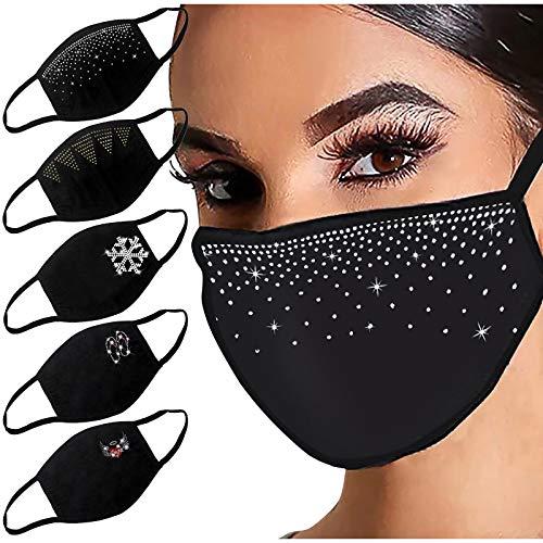 DOLLAYOU 5 Stück Glänzend Strass Mund-Nasen-Schutz, Damen Waschbar Mundschutz mit Motiv Baumwolle Glitzer Wiederverwendbar Atmungsaktiv Mund und Nasenschutz Stoff, K