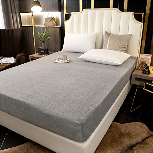 GTWOZNB Bed Sheets, Ultra Soft Silky Smooth and Wrinkle-Resistant Winter bed sheet single piece thickening-gentleman gray a38_150*200+25cm