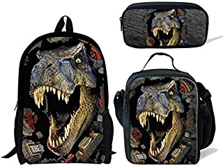 DeePrint 3 Piece Dinosaur Children School Backpack Set with Lunch Bags Pencil Case