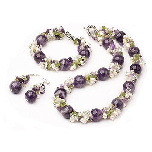 Treasurebay Chunky perline di ametista, cristalli, peridoto e perle d' acqua dolce elegante collana, braccialetto e orecchini set di gioielli, presentato in una bella confezione regalo