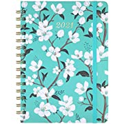 """2021 Planner - Weekly & Monthly Planner with Tabs, 6.3"""" x 8.4"""", Jan. - Dec. 2021, Hardcover with Back Pocket + Thick Paper + Banded, Twin-Wire Binding - Teal Floral"""
