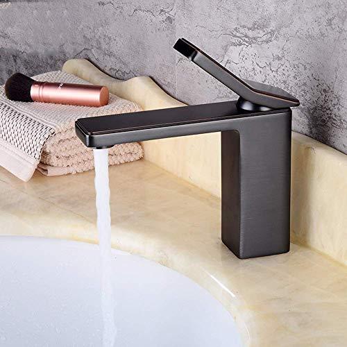 Casa Caliente All-Cobre Cuenca de Estilo Europeo Faucet Washebasin Hot and Fried Water Mezcling Negro Grifo de un Solo Agujero Peng