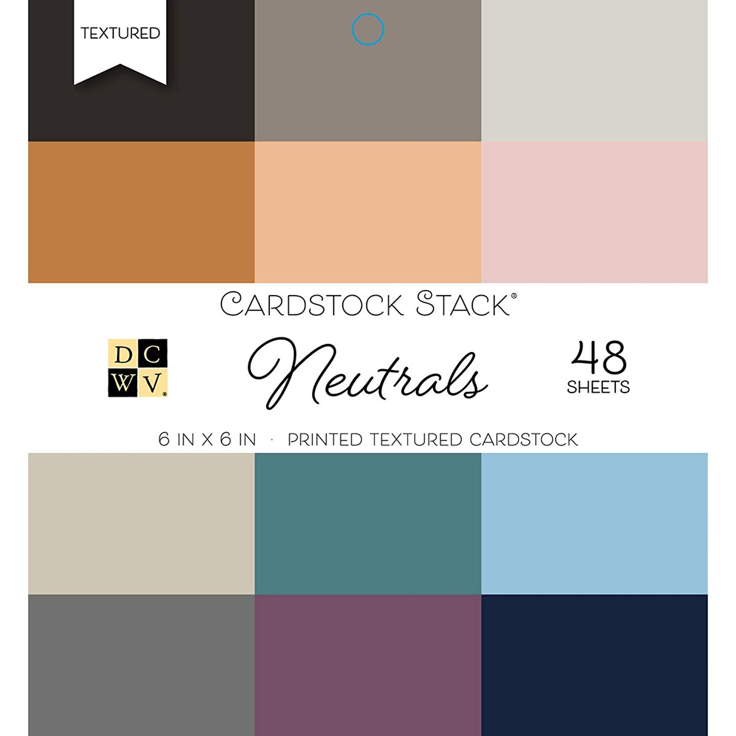 DCWV 6X6 Card Stock Neutrals Printed Textured Stack