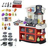 HOMCOM 52 PCs Kids Kitchen Play set Role Play Game Toy w/ Lights Sounds Spray Sink Running Water Set for Toddlers Boys and Girls 3-6 Years Old