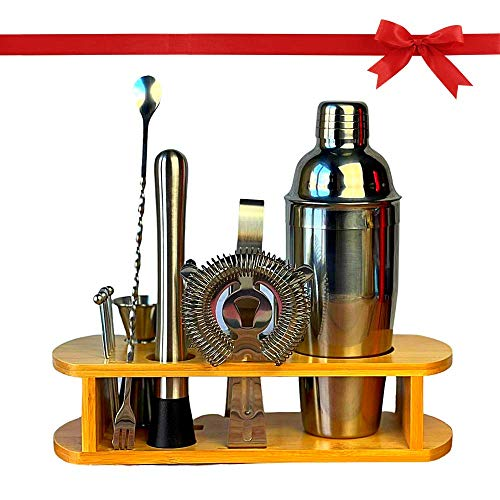 Cocktail Making Set 750ml Stainless Steel Bar Tool Set with All Bar Accessories, Home Bar Cocktail Shaker Set – Use as Bartender Kit Gift, Cocktail Set with Bamboo Stand Base