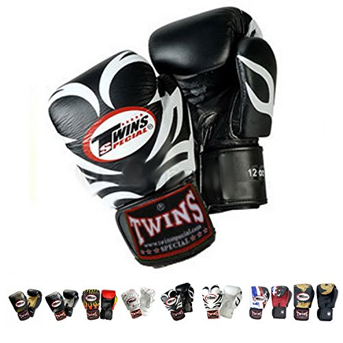 Twins Special Boxing Gloves (Tattoo Black White) (16 Ounce)