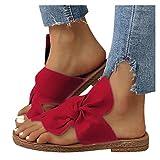koperras Sandalen Damen Bowknot Set Toe Flache Strand Schuhe Hausschuhe Frauen Mädchen Sandaletten Sommerschuhe Riemchensandalen Strandschuhe Elegant Mode Freizeitschuhe Rot Braun