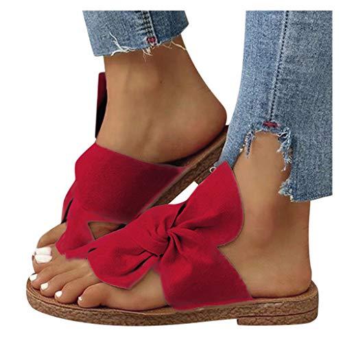 Dasongff Damen-Sandalen mit Schleife Zehentrenner Bequeme Flache Hausschuhe Sommer Flip Flops Slipper Suede Strandsandalen Sommerschuhe Clogs Pantoletten Slides