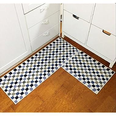 HEBE 2 Piece Non-Slip Kitchen Rug Mat Runner Set Machine Washable Kitchen Rug Door Mats Runner Set(18 x47 +18 x24 , Blue)