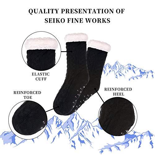 SDBING Women's Winter Super Soft Warm Cozy Fuzzy Fleece-Lined with Grippers Slipper Socks (Black)