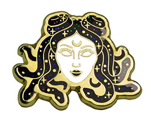 Medusa Head Lapel pin. Hard Enamel, Metal Alloy Gold pin. Greek lore Medusa Snake Head Brooch.