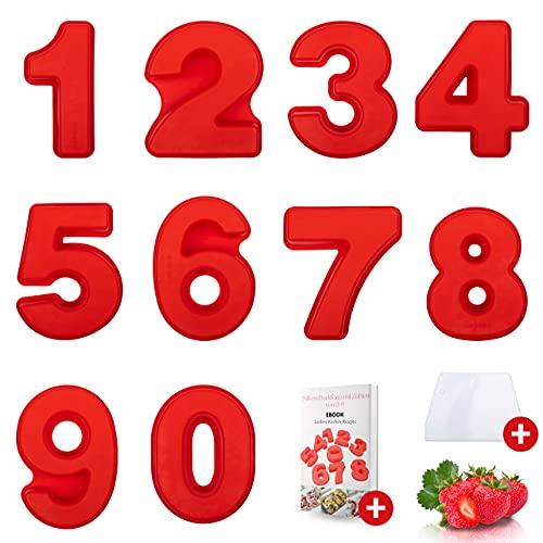 SaMaStyle Zahlenbackform - Hitzebeständige Silikon Kuchenform - Komplettes Set 0-9 - Zahlen Backformen für Geburtstage - Hochwertige Kuchen Zahlenform inkl. Teigschaber & Rezepte Ebook