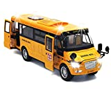 9' Pull Back School Bus,Light Up & Sounds Die-cast Metal Toy Vehicles with Bright Yellow and Openable Doors