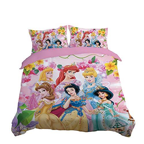NICHIYO Disney Princesas Juego de ropa de cama – Funda nórdica y funda de almohada, microfibra, impresión digital 3D de tres piezas (funda nórdica + fundas de almohada) (15,King 220 x 240 cm)