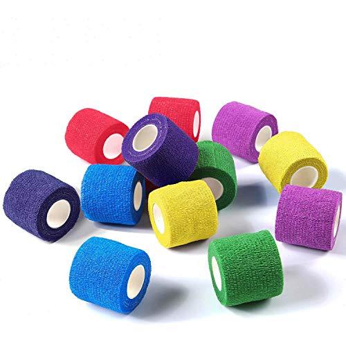 Cohesive Bandage Pet Vet Wrap Cohesive Bandages 12 Rolls x 7.5cm x 4.5m First Aid Sports Wrap Bandages