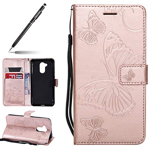 Kompatibel mit Handy Schutzhülle Huawei Honor 6A Handytasche Bookstyle Lederhülle Schmetterling Muster Leder Tasche Handyhülle Klapphülle Flip Hülle Cover Klapphülle mit Kartenfach,Rose Gold