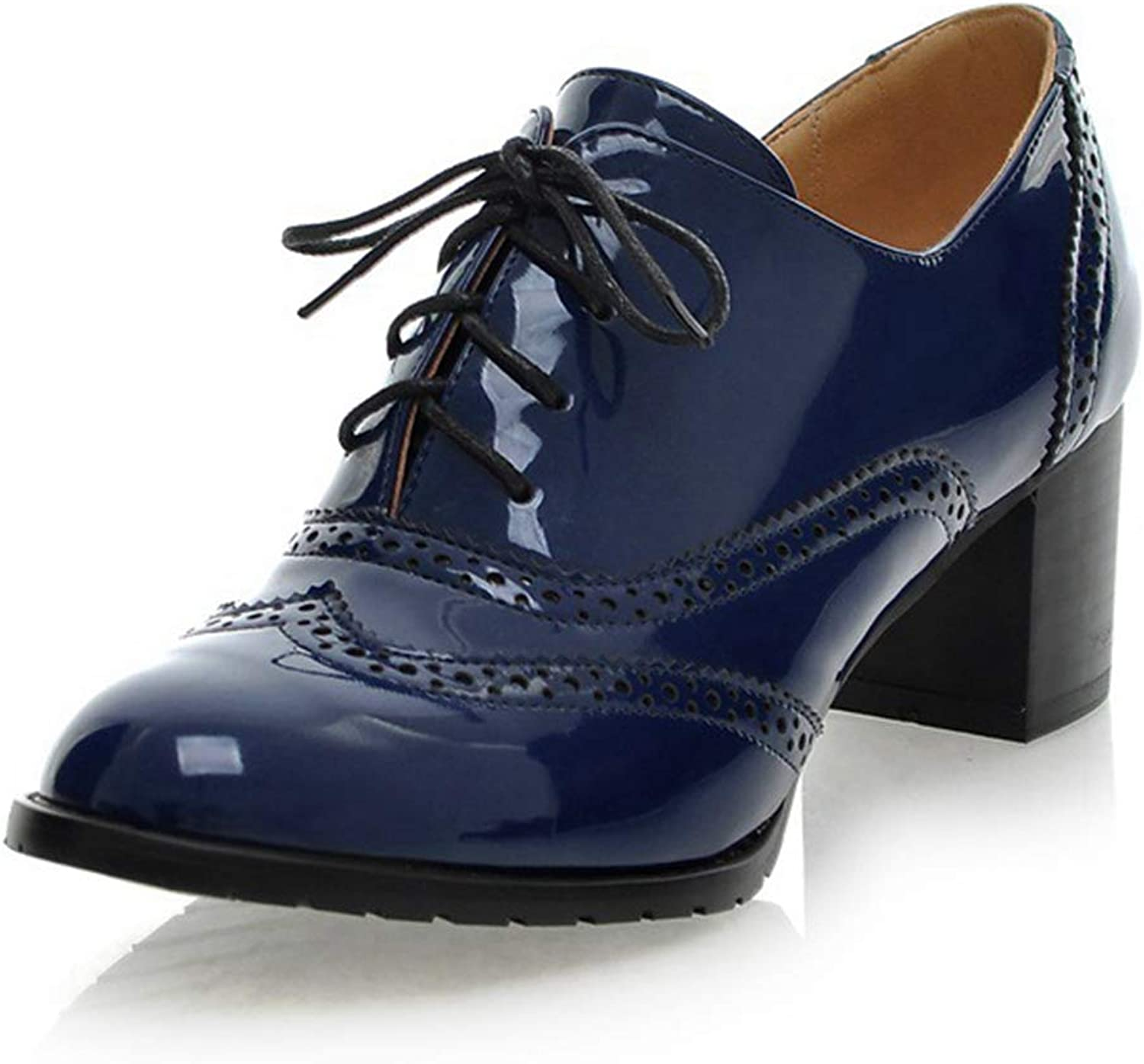 CYBLING Women's Lace up Wingtip Oxford shoes Fashion Patent Leather Chunky Mid Heel Ankle Bootie