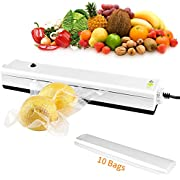 Vacuum Sealer Machine, Zouxin Vacuum Sealing System for Food, Portable Compact Vacuum Sealing System for Vacuum and Seal/Seal(White)