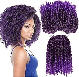 3pcs/pack Marley bob Kinky Curl 8 Inch Afro Kinky Twist Hair Soft Synthetic Crochet Braiding Hair Extention (marleyTpurple)
