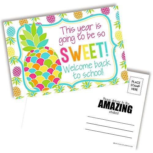 Sweet Pineapple Themed Welcome Back To School Blank Postcards For Teachers To Send To Students, 4'x6' Fill In Notecards by AmandaCreation (30)