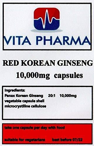 Korean Ginseng 10000mg 60 Capsules. by vita pharma Produced in The UK
