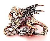 Copper & Purple Dragon Brooch Purple Glass Crystals wyvern Fantasy Beast Wyrm Lapel pin