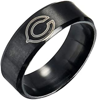 FlyStarJewelry Chicago Bears Ring Football Black Titanium Steel Men Sport Ring Band Size 7-13