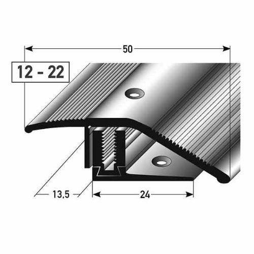 **TOPSELLER** Ausgleichsprofil / Anpassungsprofil Laminat, Höhe 12 - 22 mm, 50 mm breit, 3-teilig, Aluminium eloxiert, gebohrt, Flex
