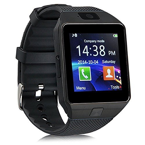 Bluetooth DZ09 Smart Watch Wrist Watch Phone with Camera & SIM Card Support with 180 Days Warranty (Colour Black) compatiable with Intex Aqua 3G NS