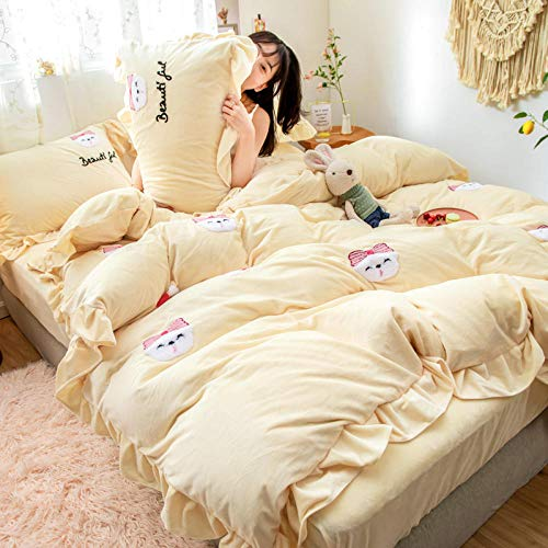 Bed Sheet Set Super Soft Microfiber,Winter warm sheets double-sided plus velvet thick flannel extra large duvet cover-L_1.8m bed (4 pieces)