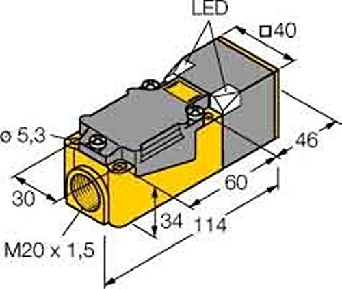 Turck Sensor,ind. Quad. 40mm Bi15-CP40-VP4X2 DC,pnp,ws,sn=15mm,b Induktiver Näherungsschalter 4047101075359