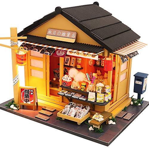 CUTEBEE Puppenhaus Miniatur mit Möbeln, Idee DIY hölzernes Puppenhaus-Kit sowie staubdicht und Musik-Bewegung, Maßstab 1:24 Kreativraum