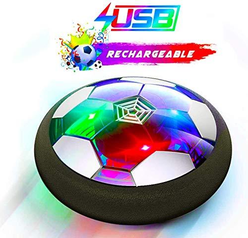 Flysee Pallone da calcio galleggiante, ricaricabile, con protezioni in schiuma morbida e luci LED, palloni da calcio per bambini 3 4 5 6 7 8 9 10 11 12 anni, Air Power Soccer per regali di compleanno