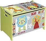 BIECO 74004813 coffre à jouets et banc dans un motif Safari, vert 60 x 40 x 37 cm