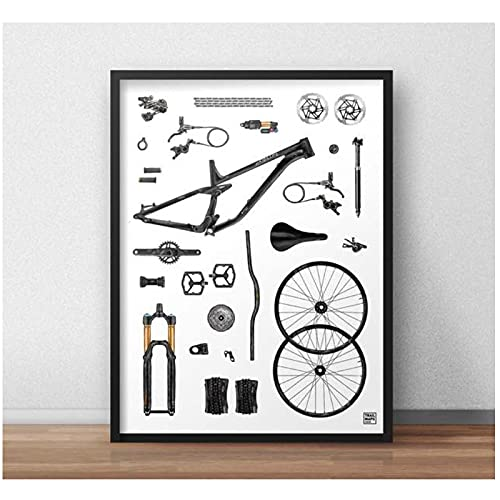 Tiiiytu Impresión De Arte De Bicicleta De Montaña 'The Build' - Impresión De Póster De MTB Ciclismo Bicicleta Arte De Pared Carteles Pintura En Lienzo Decoración para El Hogar -50X70Cm Sin Marco