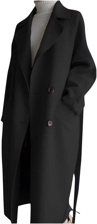 Oversize Outwear Cashmere Womens Jacket Coat Belt Trench Lapel Wool Blend Parka