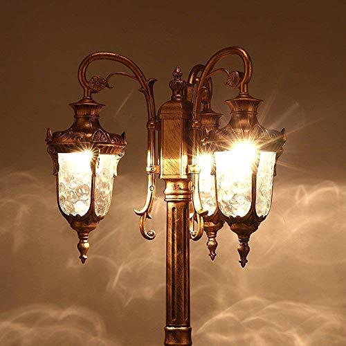 Iluminación para el hogar 3 luces, farolillo de vidrio impermeable, farola, luz de poste alto retro, aluminio antiguo, resistente a la lluvia, antioxidante, patio, balcón, césped, villa, paisaje, colu
