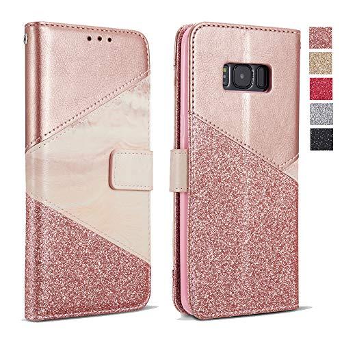 ZCDAYE Hülle für Samsung Galaxy S6 Edge, Glitter Schutzhülle [Magnetverschluss] PU Leder [Keramisches Muster][Kartensteckplätze] Flip Geldbörse Folio Tasche weichem TPU Handyhülle - Roségold