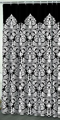 Elegant and stylish black damask shower curtain