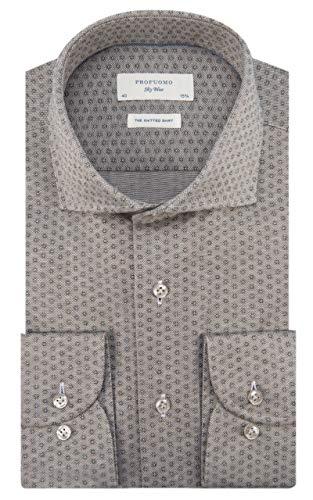 Profuomo Sky Blue Slim fit Knitted Herren Business Hemd Langarm