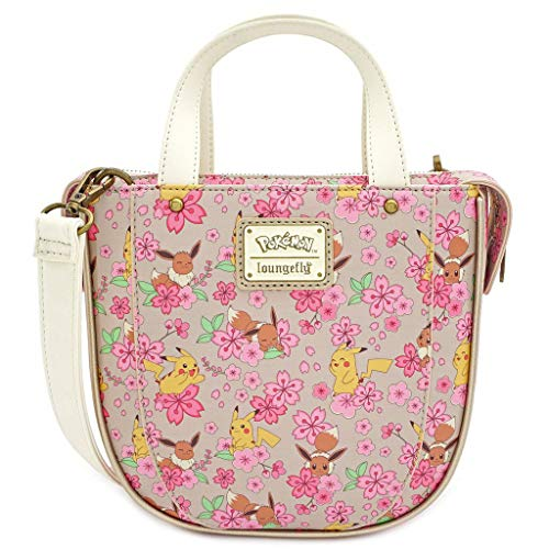 Loungefly x Pokemon Eevee and Pikachu Allover-Print Crossbody Purse (One Size, Pink Multi)