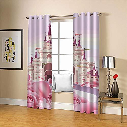 Gzclian gordijnen, ondoorzichtig, met ogen, 3D, roze, burg, thermogordijn, isolerend gordijn, 2 stuks