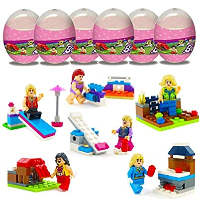 Anditoy 6 Pack Girls Fairground Building Blocks Easter Eggs with Toys Inside for Kids Girls Boys Easter Basket Stuffers Fillers Gifts