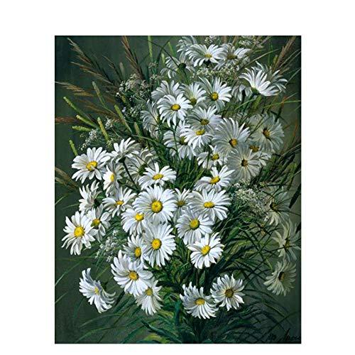 Pintura por números, flor blanca Kits de Pintar acrílica DIY para Adultos Niños Principiantes Fácil sobre Lienzo 40x50 cm con Pinturas y Pinceles (sin Marco)