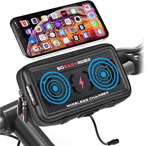 So Easy Rider 13 en 1 Soporte Móvil Moto con Cargador Inalámbrico y Ventiladores,360 Grados Soporte Teléfono Bicicleta Scooter GPS Bolsa Manillar Impermeable para 4.3 a 6.3 Pulgadas Smartphone