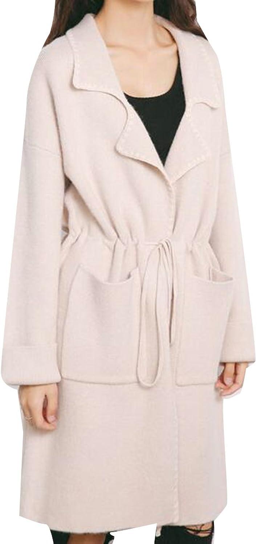 Sweatwater Womens Casual Lapel Knit Drawstring Loose Cardigan Sweaters Coat