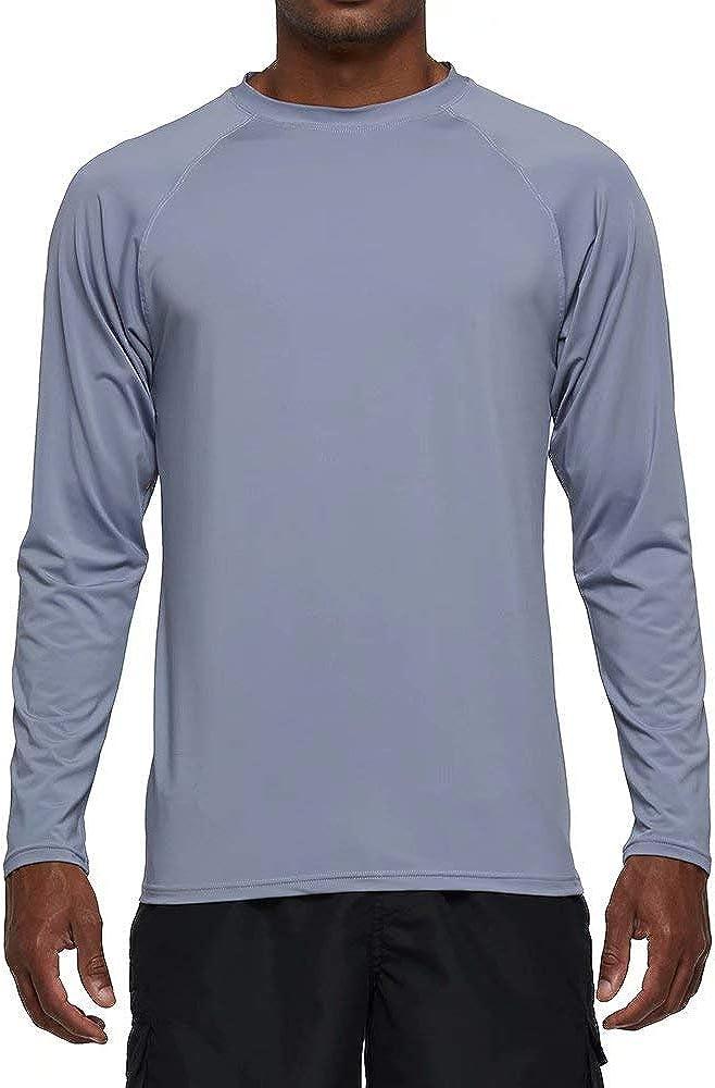 Men's Long Sleeve Rash Guard Swim Shirts UPF 50+ Sun Protection SPF UV T-Shirts for Fishing Hiking Running Surfing